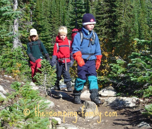 three boys hiking