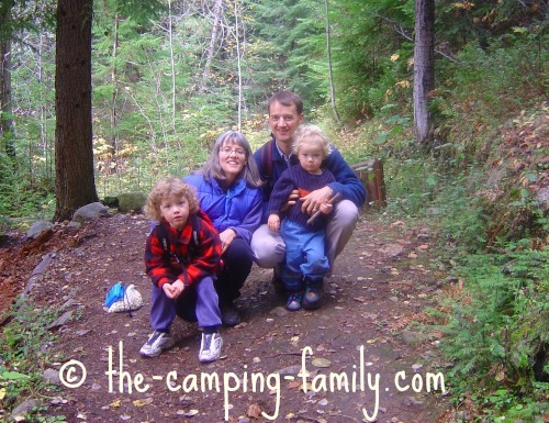 family on a hiking trail
