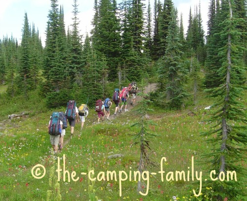 hikers in meadow