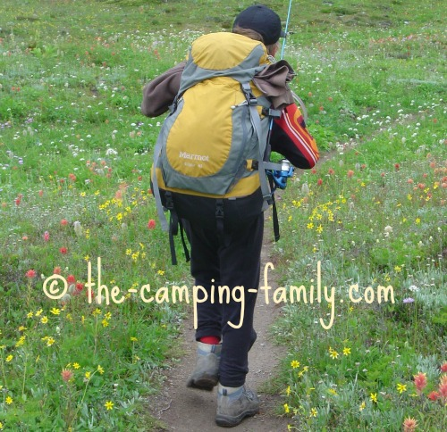 backpacker with fishing rod