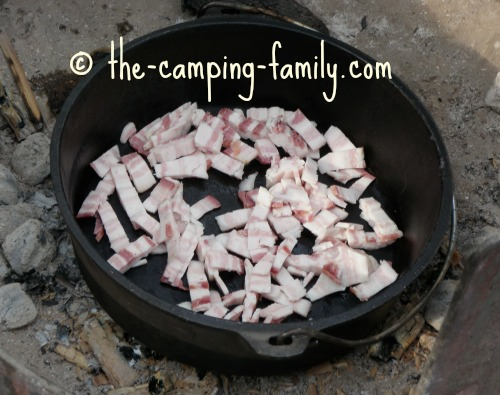 chopped bacon in Dutch oven