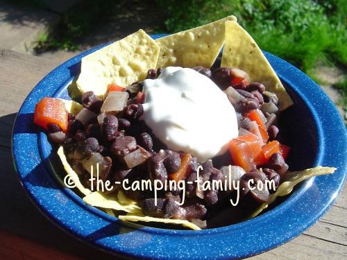 Balsamic Black Beans in blue bowl