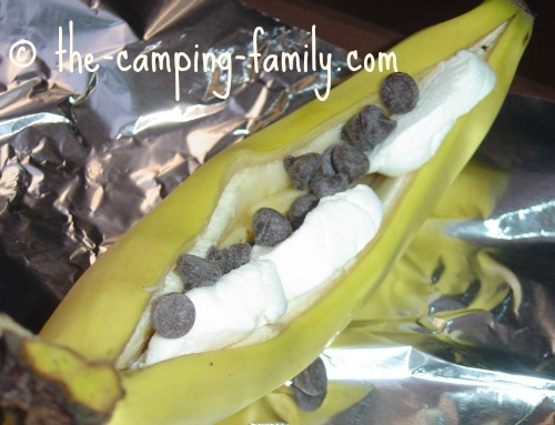 banana with chocolate chips and marshmallows