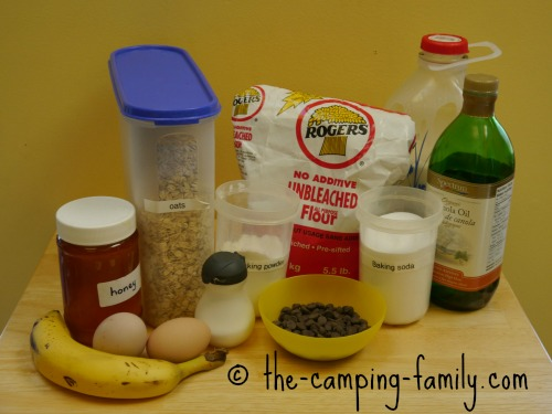 ingredients for Banana Oatmeal Chocolate Chip Muffins