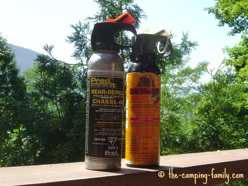 two canisters of bear repellent spray