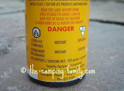 bear spray warning label