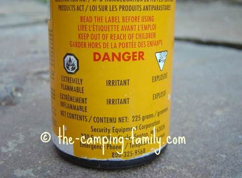 bear spray warning label