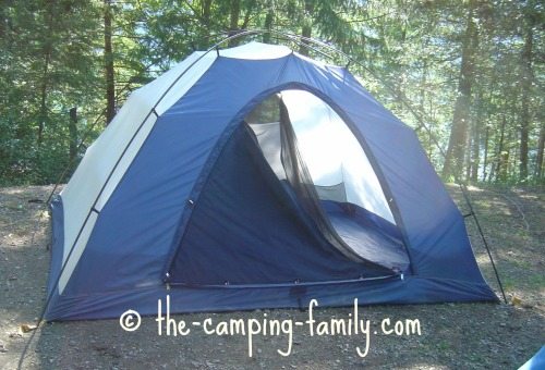 assembled tent with clips
