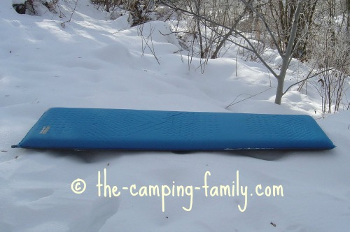 blue thermarest on snow