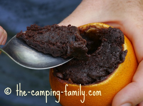 brownie in an orange shell