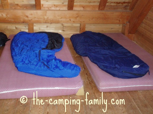 sleeping bags on foam mattresses