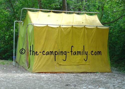 green and yellow canvas tent