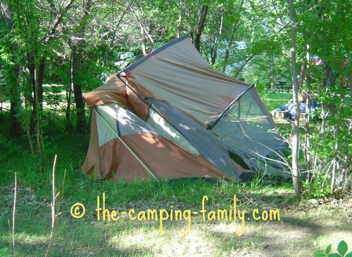 collapsed cabin style tent