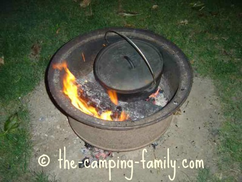 Dutch oven in campfire ring