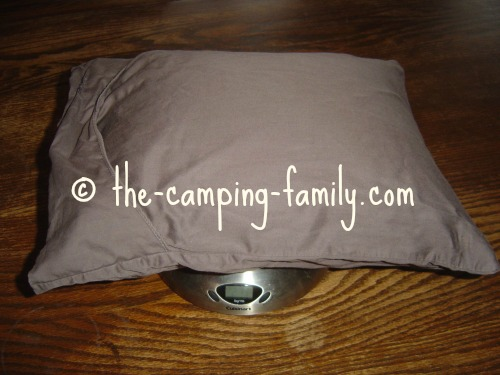 camping pillow on scale