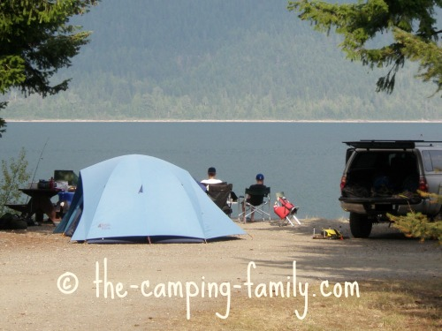 tent beside lake
