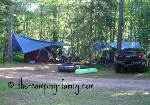 truck and tent in campsite