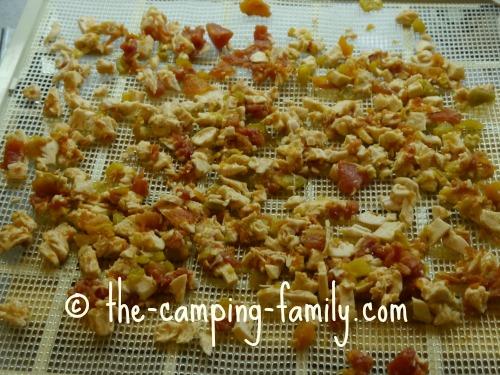 chicken mixture on dehydrator screen