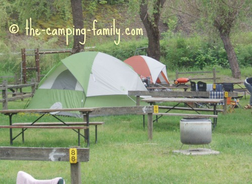 tents in private campground