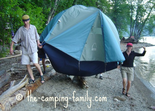 carrying a dome tent