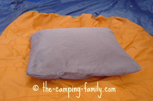 down-filled camping pillow