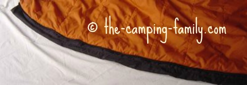 draft tube on sleeping bag