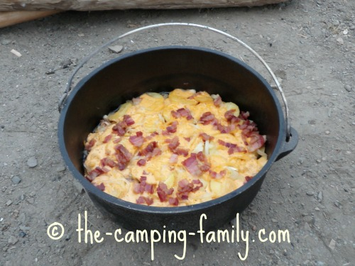 cooked Layered Supper in Dutch oven