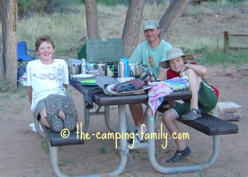 family at picnic table