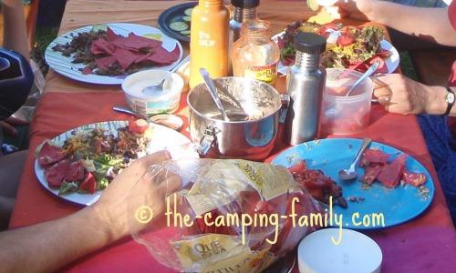 Taco Salad on the picnic table