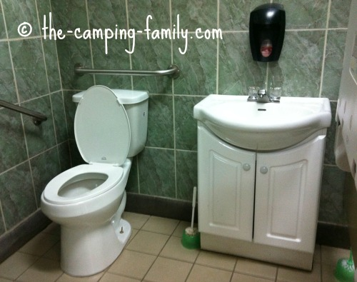 toilet and sink in fancy comfort station