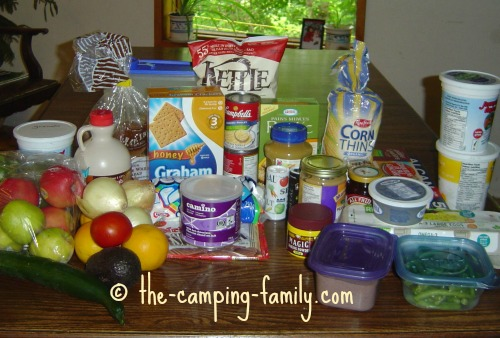camping food ready to pack