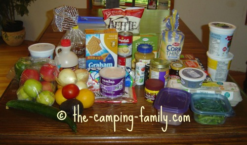 camping food on table