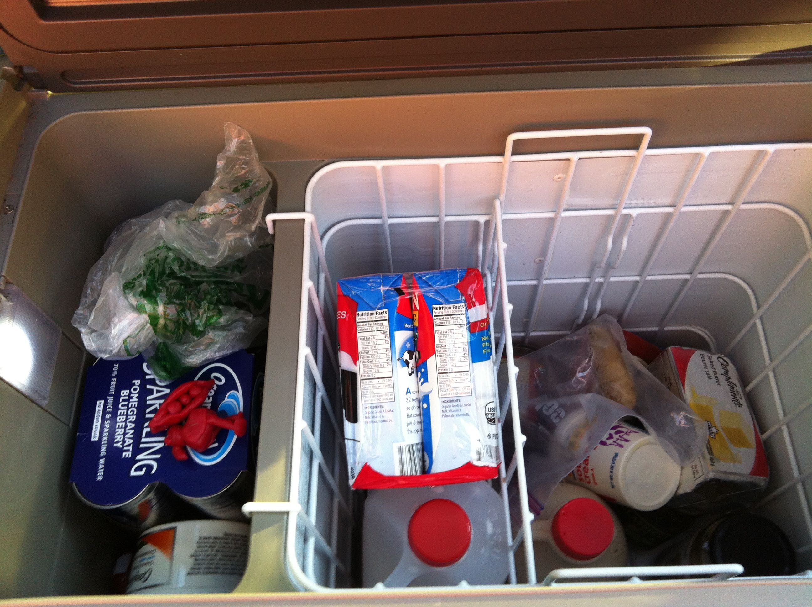 interior of camping refrigerator