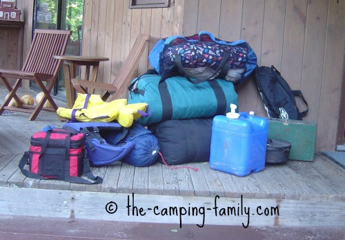 camping gear on porch