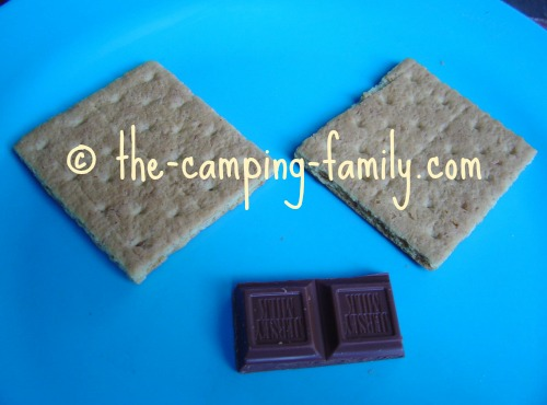 graham crackers and chocolate on a plate
