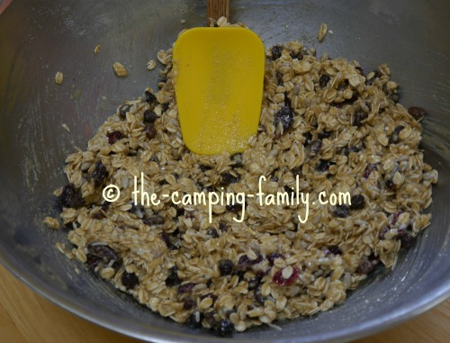stirring ingredients with a spatula spoon