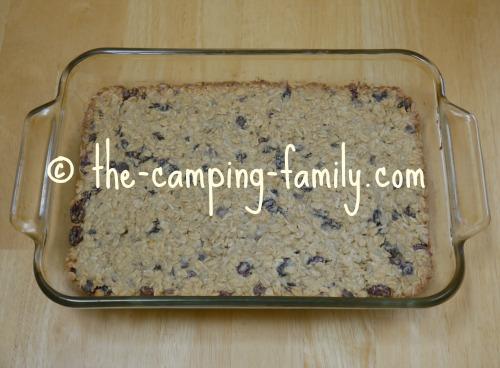 baked granola bars in pan