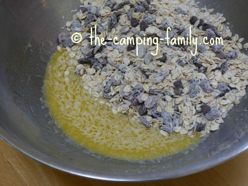 dry ingredients added to wet ingredients in large bowl