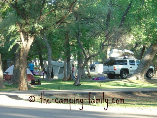 tent sites at Green River State Park
