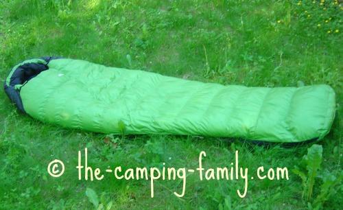 green mummy bag