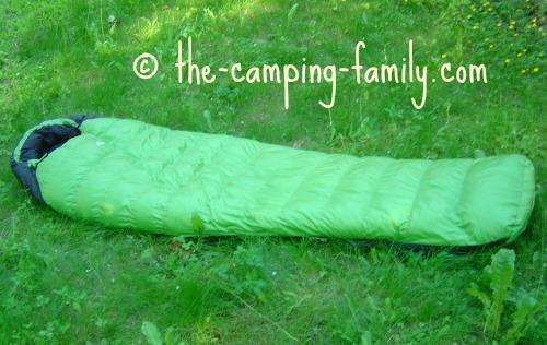 green mummy sleeping bag
