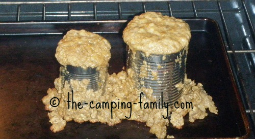 banana bread dough in tin cans