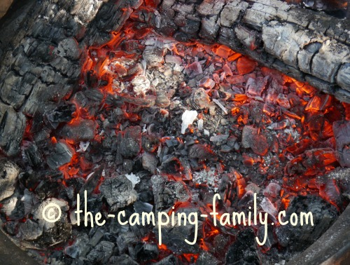 hot campfire coals