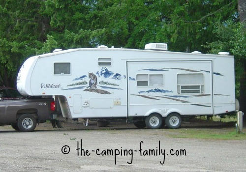 large fifth wheel trailer with pop out