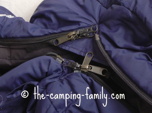 sleeping bag zippers lined up