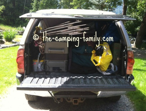 truck loaded with camping gear