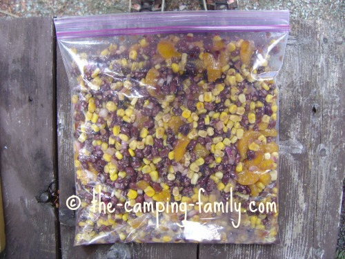 bean salad in ziploc bag