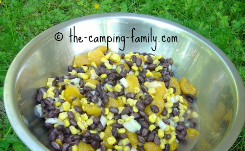 large bowl of mandarin black bean salad