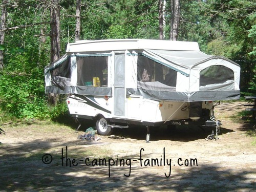 tent trailer with large windows