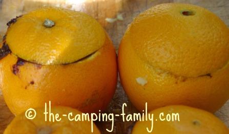 orange shells filled with batter